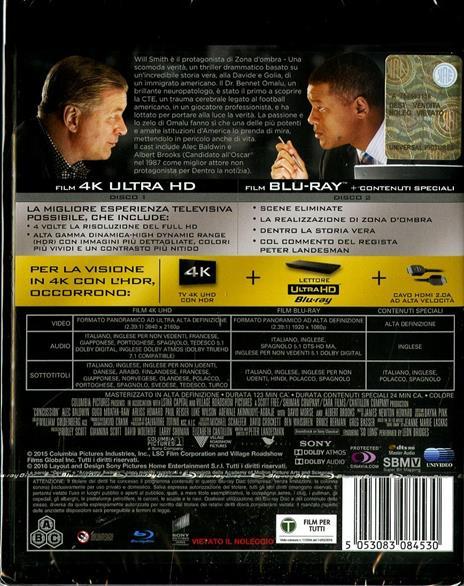 Zona d'ombra. Una scomoda verità (Blu-ray + Blu-ray 4K Ultra HD) di Peter Landesman - Blu-ray + Blu-ray Ultra HD 4K - 2
