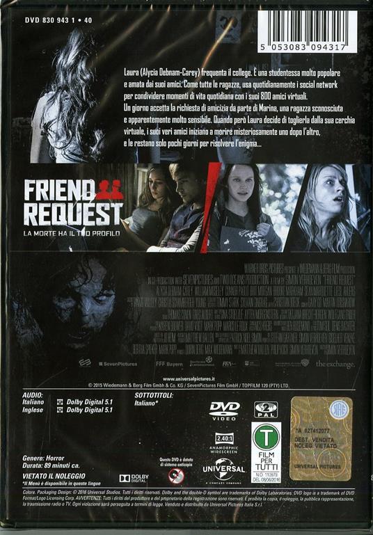 Friend Request. La morte ha il tuo profilo di Simon Verhoeven - DVD - 2