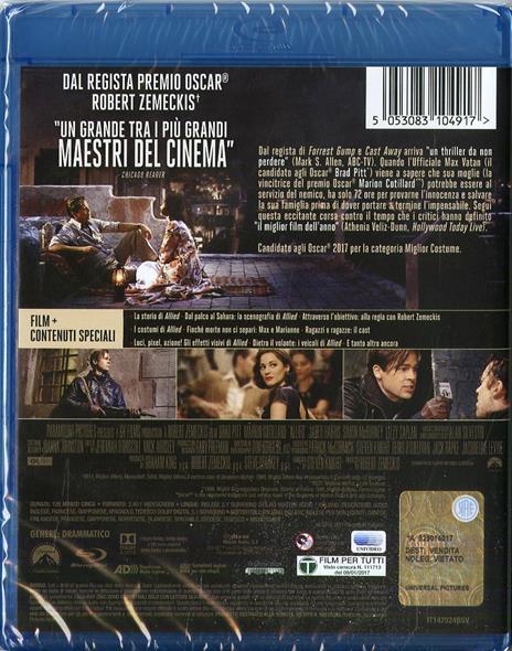 Allied. Un'ombra nascosta (Blu-ray) di Robert Zemeckis - Blu-ray - 2