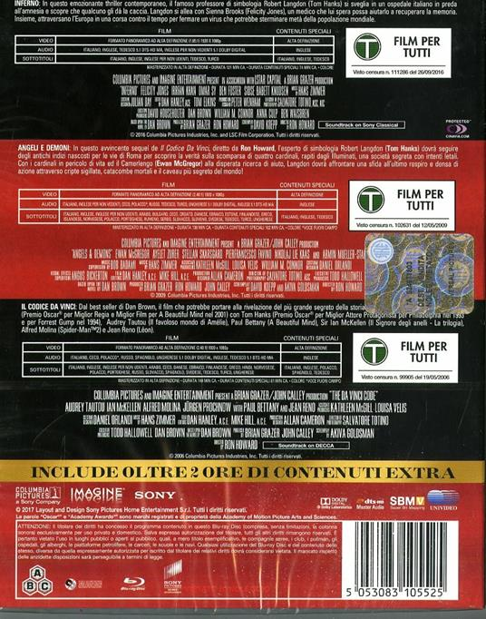 Robert Langdon Trilogy (3 Blu-ray) di Ron Howard - 2