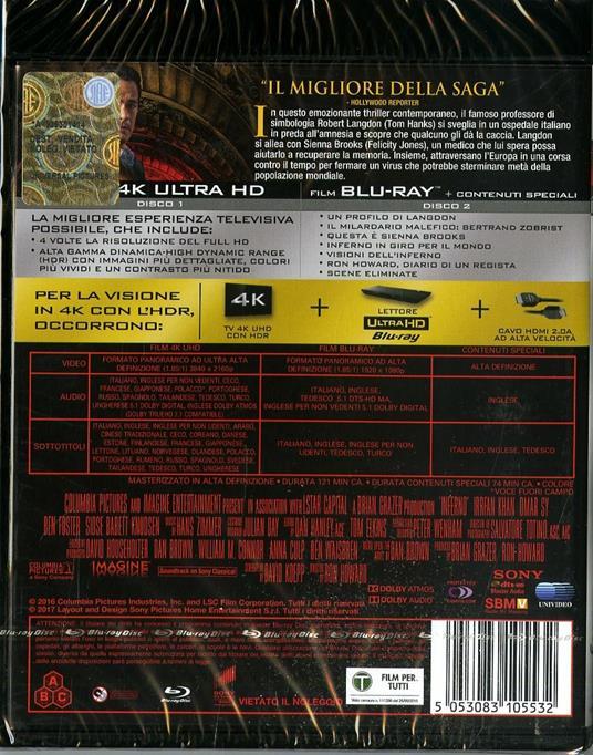 Inferno (Blu-ray + Blu-ray 4K Ultra HD) di Ron Howard - 2