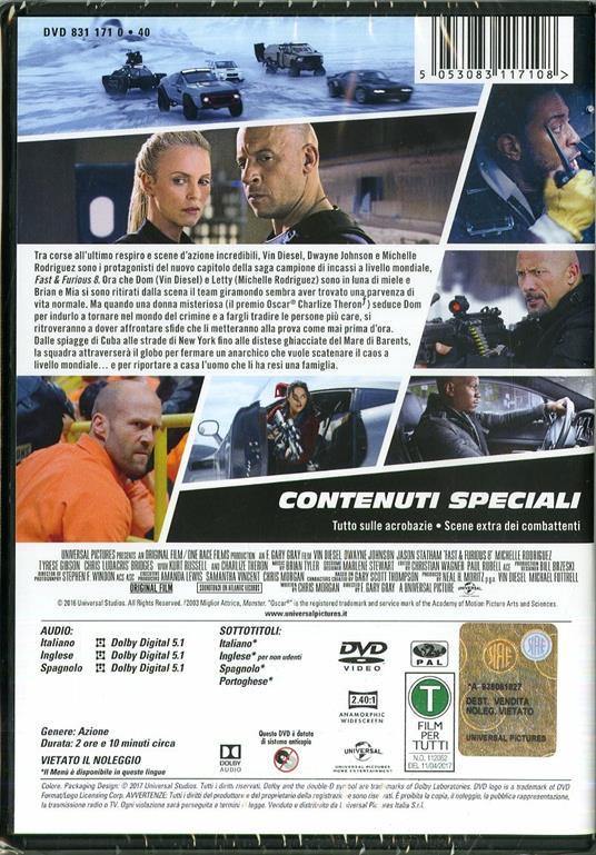 Fast & Furious 8 (DVD) di F. Gary Gray - DVD - 2