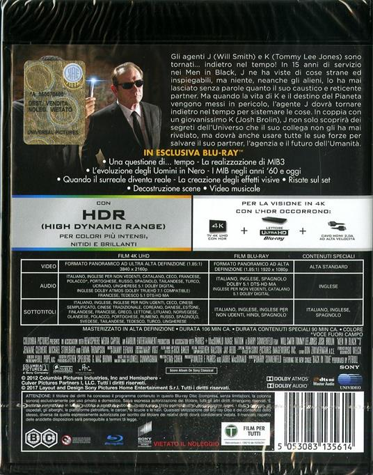 Men In Black 3. MIB (Blu-ray + Blu-ray 4K Ultra HD) di Barry Sonnenfeld - 2
