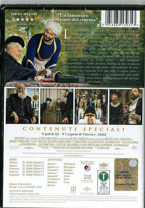 Vittoria e Abdul (DVD) di Stephen Frears - DVD - 2