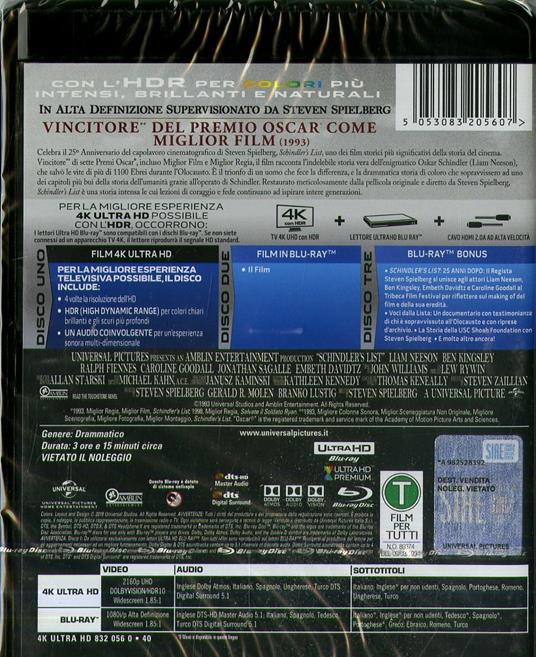 Schindler's List (Blu-ray + Blu-ray UltraHD 4K) di Steven Spielberg - Blu-ray + Blu-ray Ultra HD 4K - 2