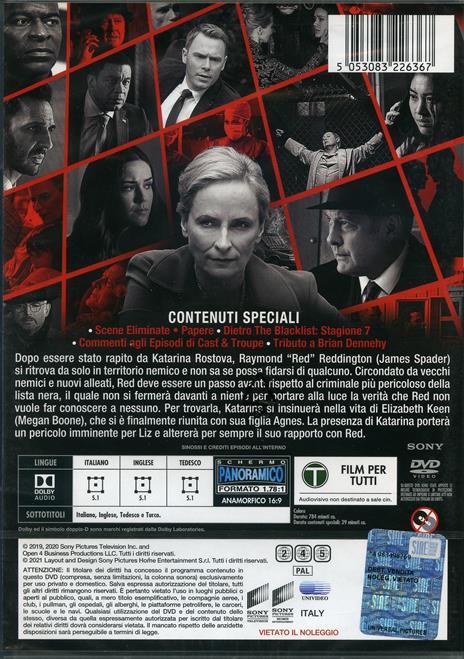 The Blacklist. Stagione 7. Serie TV ita (DVD) di Jon Bokenkamp - DVD - 3