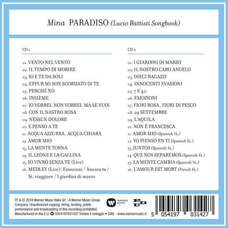 Paradiso. Lucio Battisti Songbook - CD Audio di Mina - 2