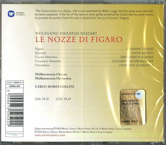Le nozze di Figaro - CD Audio di Wolfgang Amadeus Mozart,Carlo Maria Giulini,Fiorenza Cossotto,Elisabeth Schwarzkopf,Giuseppe Taddei,Philharmonia Orchestra - 3