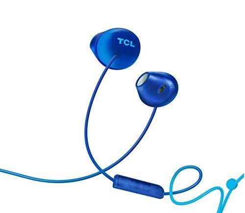 TCL SOCL200 Cuffie auricolari con microfono (Secure Fit, microfono integrato e telecomando per il controllo di musica e chiamate, cancellazione dell'eco), Blu