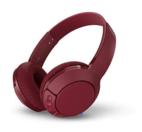 TCL MTRO200BT Wireless On Ear Headphones con microfono (Bluetooth 4.2, isolamento acustico, cuscinetti auricolari in pelle, 20 ore di gioco, ricarica rapida, pieghevole, comandi integrati), Rosso