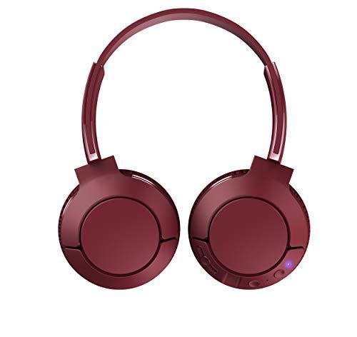 TCL MTRO200BT Wireless On Ear Headphones con microfono (Bluetooth 4.2, isolamento acustico, cuscinetti auricolari in pelle, 20 ore di gioco, ricarica rapida, pieghevole, comandi integrati), Rosso - 3