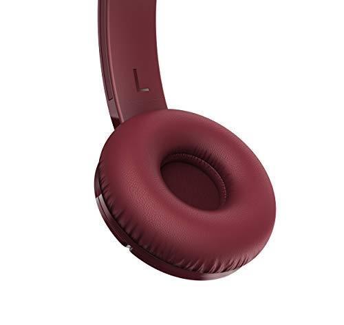 TCL MTRO200BT Wireless On Ear Headphones con microfono (Bluetooth 4.2, isolamento acustico, cuscinetti auricolari in pelle, 20 ore di gioco, ricarica rapida, pieghevole, comandi integrati), Rosso - 4