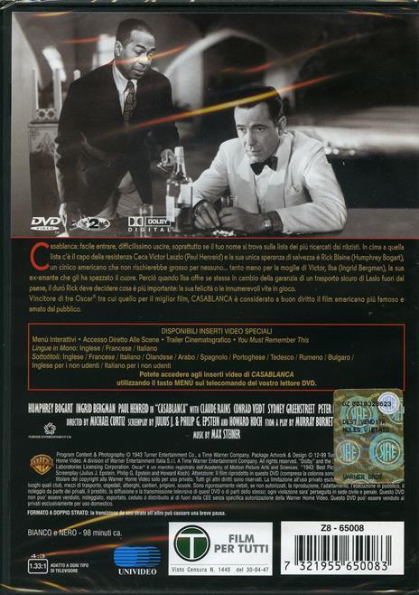 Casablanca di Michael Curtiz - DVD - 2