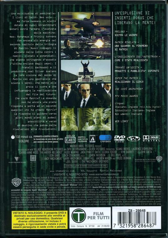 Matrix Reloaded (2 DVD) di Andy Wachowski,Larry Wachowski - DVD - 2