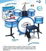 Bontempi Batteria per Bambini Giocattolo Batteria Classica 6 Elementi con  Sgabello