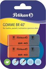 Gomma in caucciù Pelikan BR40 rossa blu. Confezione da 2 pezzi
