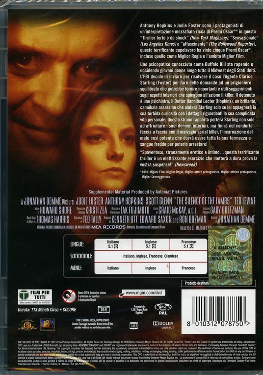 Il silenzio degli innocenti di Jonathan Demme - DVD - 2