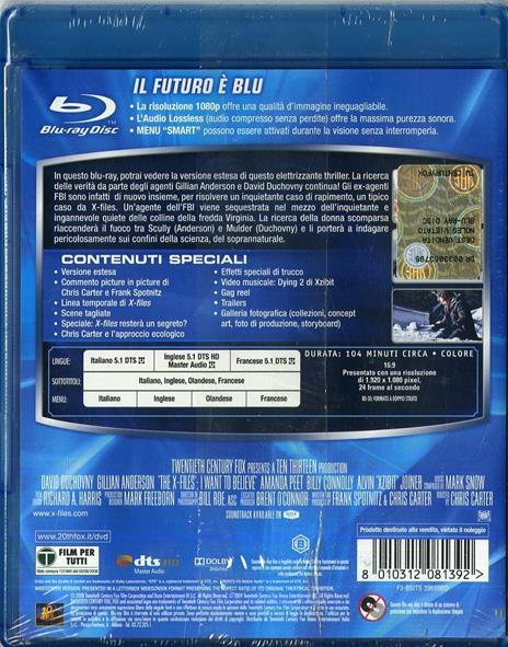 X Files. Voglio crederci di Chris Carter - Blu-ray - 2