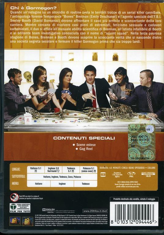 Bones. Stagione 3 (4 DVD) di Ian Toynton,Allan Kroeker,Craig Ross Jr.,Steven DePaul - DVD - 2