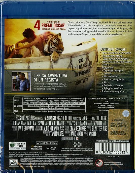 Vita di Pi di Ang Lee - Blu-ray - 2