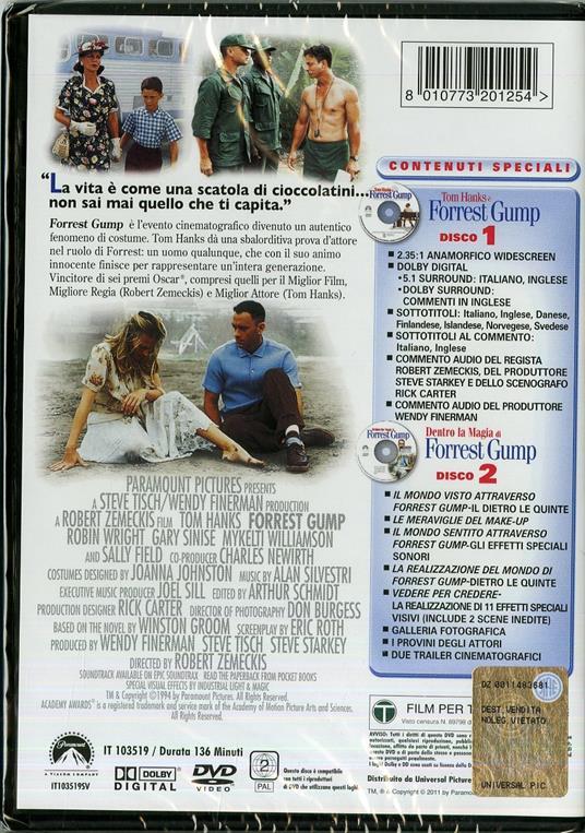 Forrest Gump (2 DVD)<span>.</span> Edizione speciale di Robert Zemeckis - DVD - 2