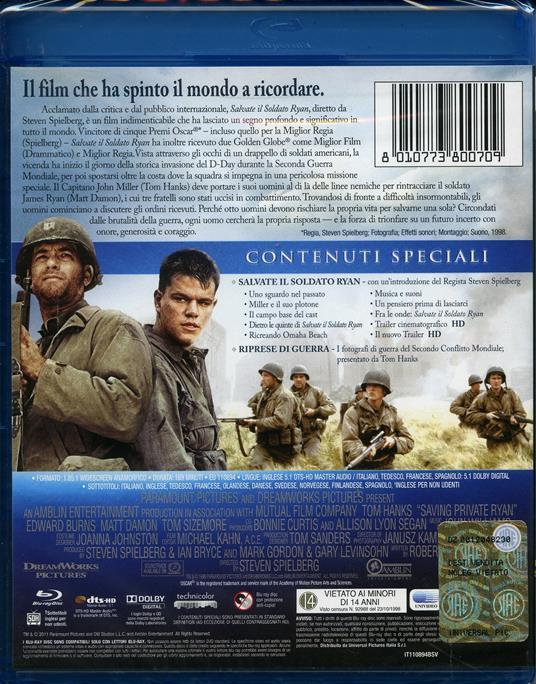 Salvate il soldato Ryan (2 Blu-ray)<span>.</span> Edizione speciale di Steven Spielberg - Blu-ray - 2