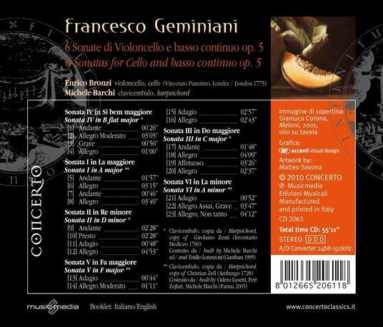 6 Sonate di violoncello e basso continuo - CD Audio di Francesco Geminiani,Enrico Bronzi - 2