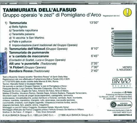 Tammurriata dell'Alfasud - CD Audio di Gruppo Operaio E.Zezi - 2