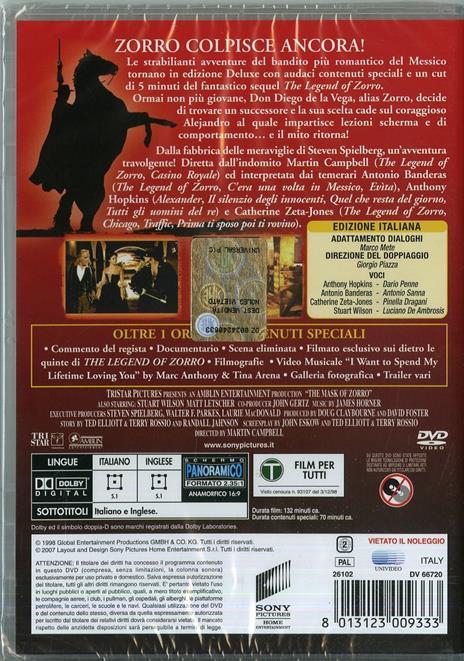La maschera di Zorro<span>.</span> Deluxe Collection di Martin Campbell - DVD - 2