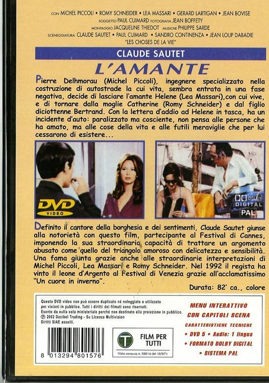 L' amante (DVD) di Claude Sautet - DVD - 2