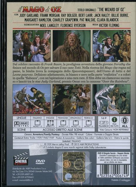 Il mago di Oz (DVD) di Victor Fleming,George Cukor,Mervyn LeRoy,Norman Taurog,King Vidor - DVD - 2