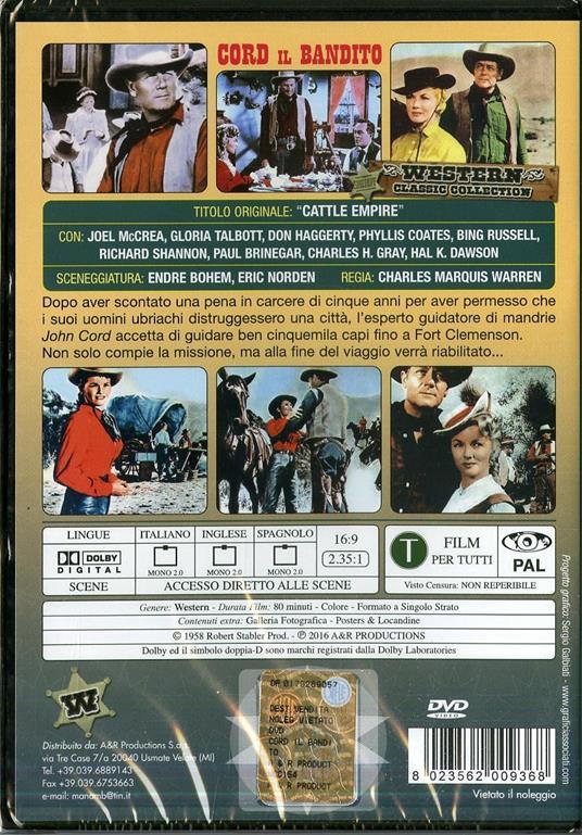 Cord il bandito di Charles Marquis Warren - DVD - 2