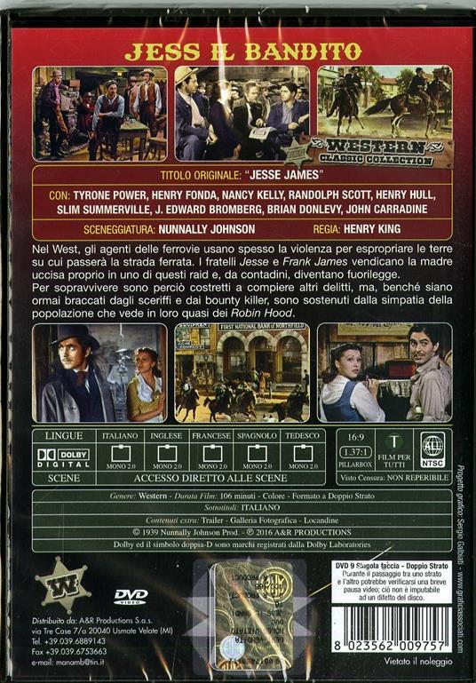 Jess il bandito di Henry King - DVD - 2