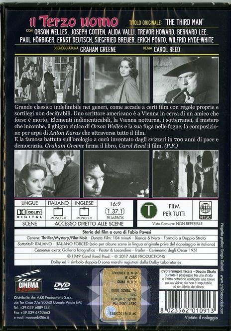 Il terzo uomo (DVD) di Carol Reed - DVD - 2