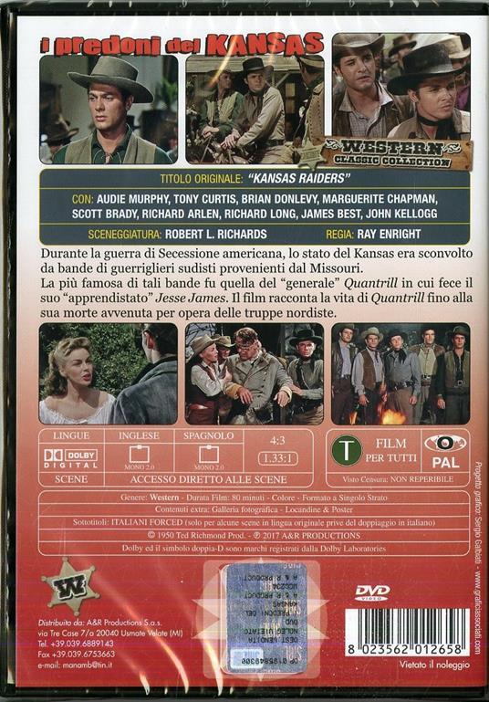 I predoni del Kansas. Edizione in lingua originale (DVD) di Ray Enright - DVD - 2