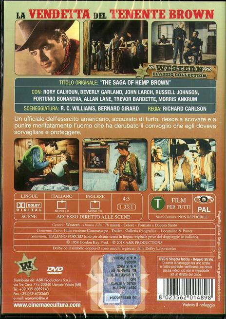 La vendetta del tenente Brown (DVD) di Richard Carlson - DVD - 2