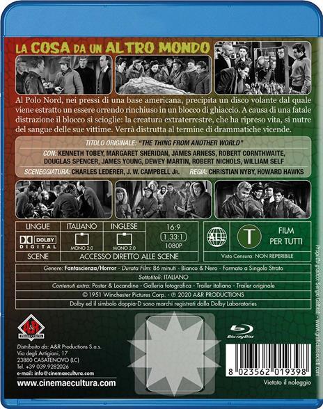 La cosa da un altro mondo (Blu-ray) di Christian Nyby,Howard Hawks - Blu-ray - 2