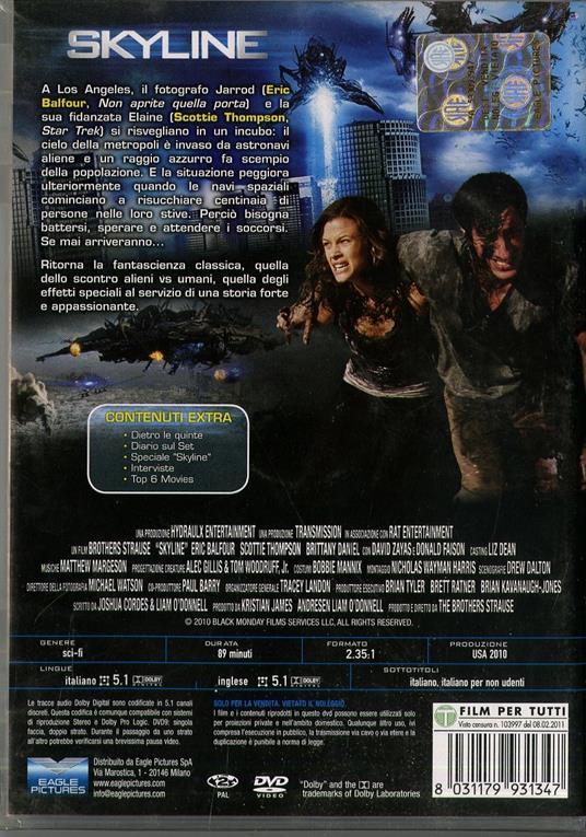 Skyline<span>.</span> Edizione speciale di Colin Strause,Greg Strause - DVD - 2