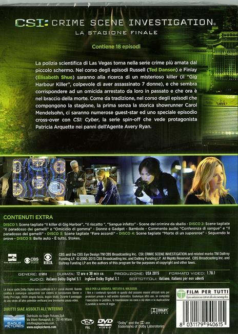 CSI. Crime Scene Investigation. Stagione 15 (3 DVD) di Alec Smight,Brad Tanenbaum,Jeffrey G. Hunt - DVD - 2