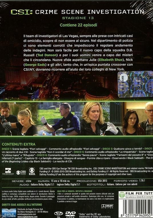 CSI. Crime Scene Investigation. Stagione 13 (6 DVD) di Alec Smight,Brad Tanenbaum,Jeffrey G. Hunt - DVD - 2