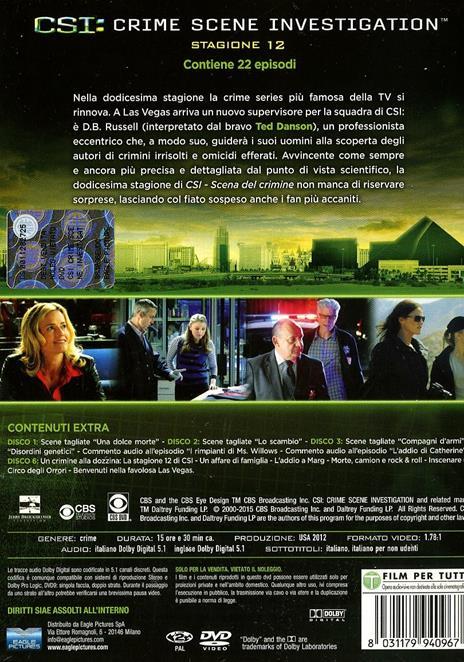 CSI. Crime Scene Investigation. Stagione 12 (6 DVD) di Alec Smight,Brad Tanenbaum,Jeffrey G. Hunt - DVD - 2