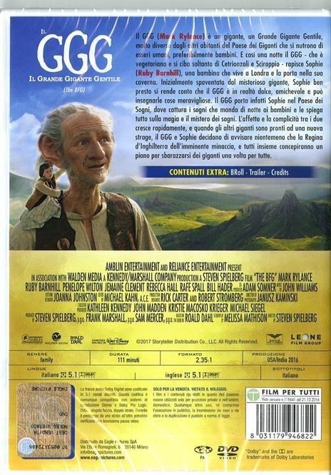 Il GGG. Il Grande Gigante Gentile (DVD) di Steven Spielberg - DVD - 2
