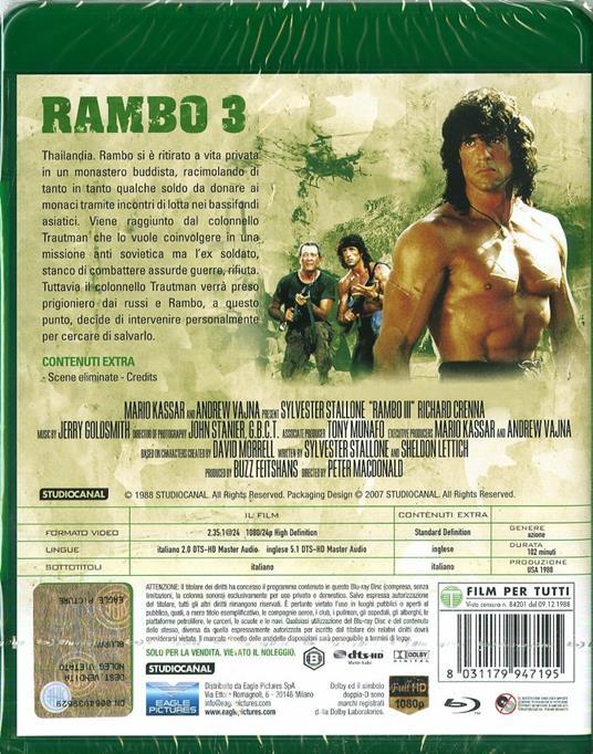 Rambo III (Blu-ray) di Peter MacDonald - Blu-ray - 2