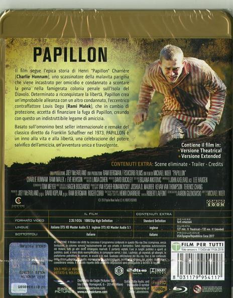 Papillon (2018) (Blu-ray) di Michael Noer - Blu-ray - 2