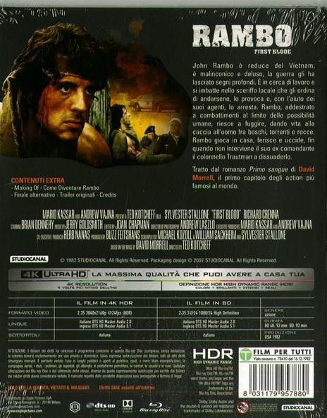 Rambo. Con Card (Blu-ray + Blu-ray 4K Ultra HD) di Ted Kotcheff - Blu-ray + Blu-ray Ultra HD 4K - 2
