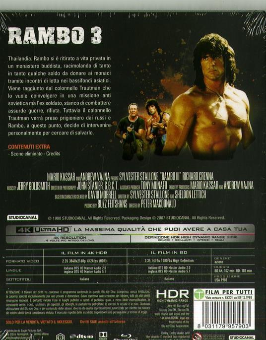 Rambo III. Con Card (Blu-ray + Blu-ray 4K Ultra HD) di Peter MacDonald - Blu-ray + Blu-ray Ultra HD 4K - 2