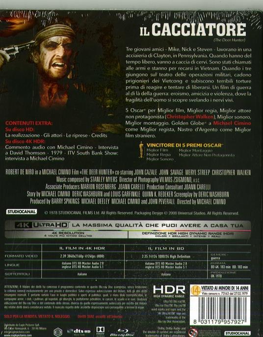 Il cacciatore. (Blu-ray + Blu-ray 4K Ultra HD) di Michael Cimino - Blu-ray + Blu-ray Ultra HD 4K - 2
