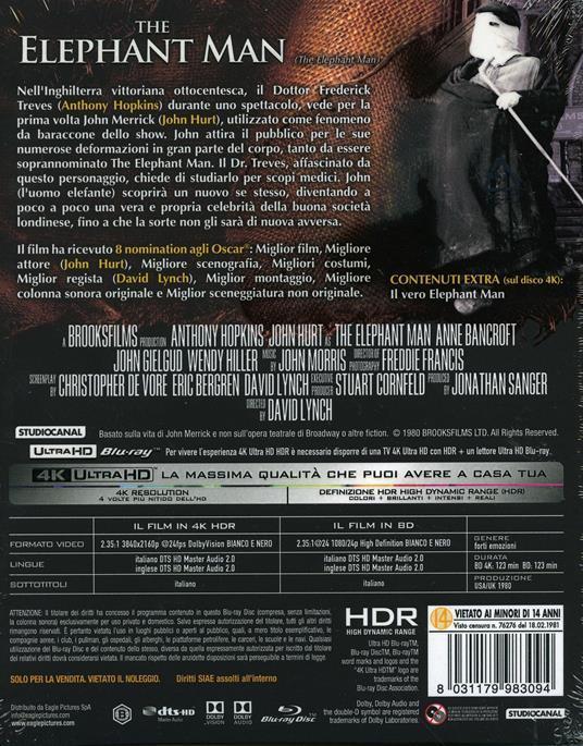 The Elephant Man. Con card numerata (Blu-ray + Blu-ray Ultra HD 4K) di David Lynch - Blu-ray + Blu-ray Ultra HD 4K - 2