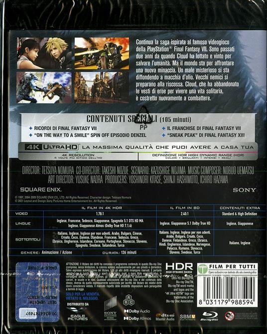 Final Fantasy VII. Advent Children (  (Blu-ray + Blu-ray Ultra HD 4K) di Tetsuya Nomura,Takeshi Nozue - Blu-ray + Blu-ray Ultra HD 4K - 2