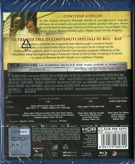 Gandhi (2 Blu-ray + 2 Blu-ray Ultra HD 4K) di Richard Attenborough - Blu-ray + Blu-ray Ultra HD 4K - 2